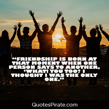 friendship is born at that moment when one person cute life quotes