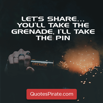 lets share you will take the grenade i will take the pin sarcasm quotes